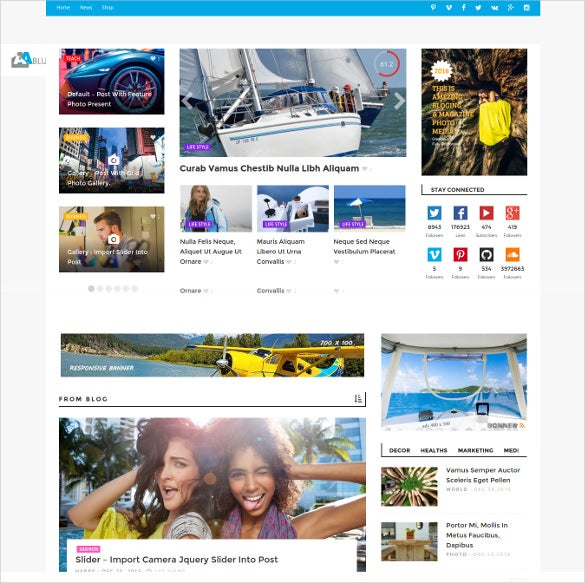 bluemag magazine wordpress responsive blog theme