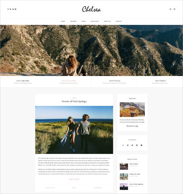 chelsea personal blog template for travelers