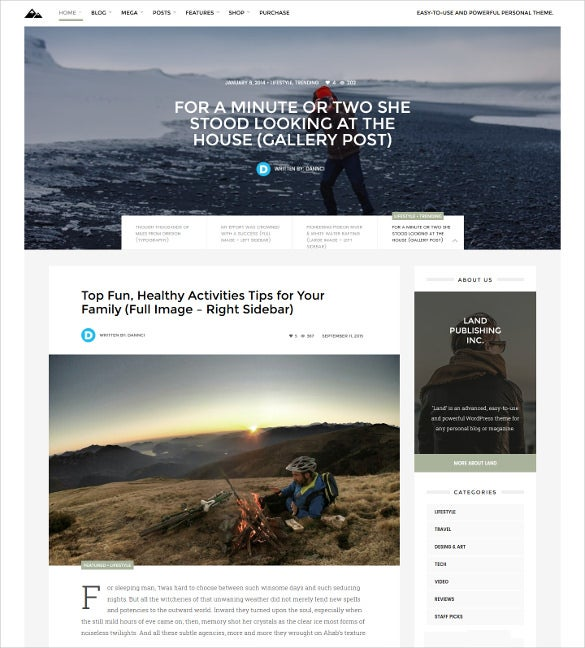 land multi topic personal wordpress blog theme