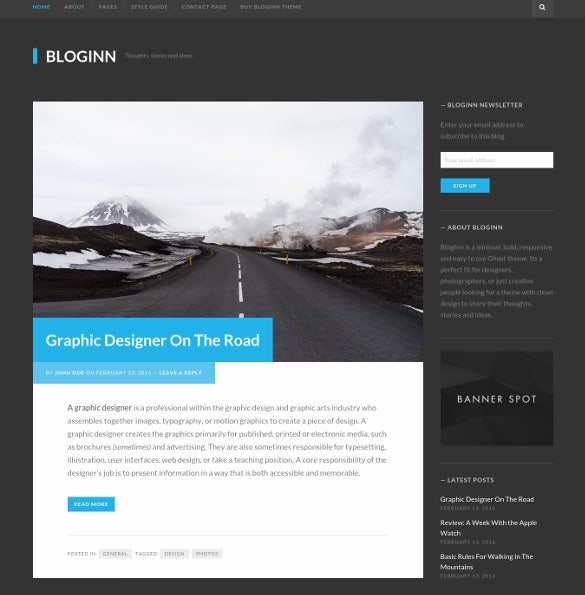 bloginn bold blog theme for wordpress