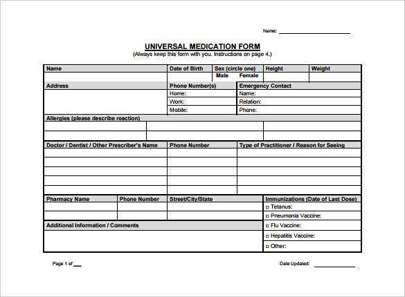Universal Medication Doctor Prescription Form Template PDF
