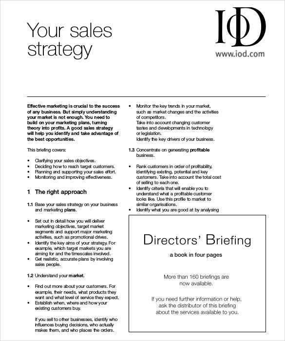 Example Sales Strategy Template Free PDF Download