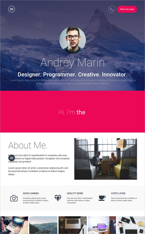 personal vcard bootstrap html template