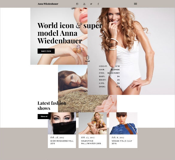 model portfolio html5 website template