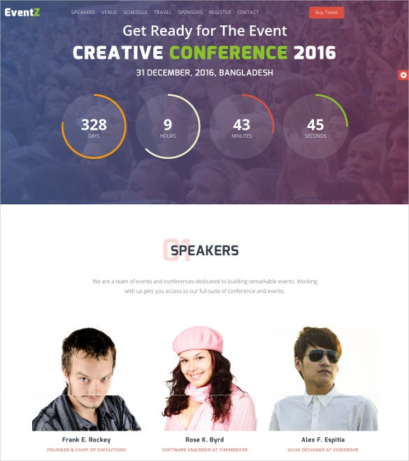 eventz – conference event html5 template