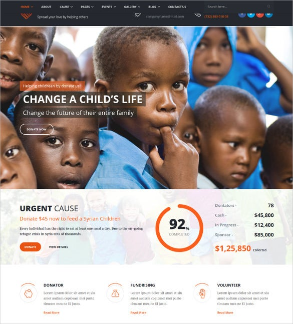 giving hand responsive html5 template for charity