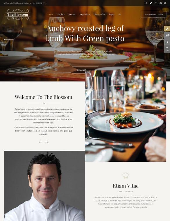 sj blossom responsive joomla html5 template for restaurant