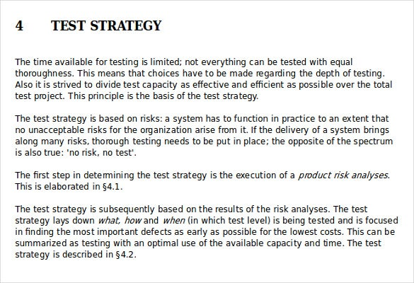 Test Strategy Templates  Free Sample Example Format