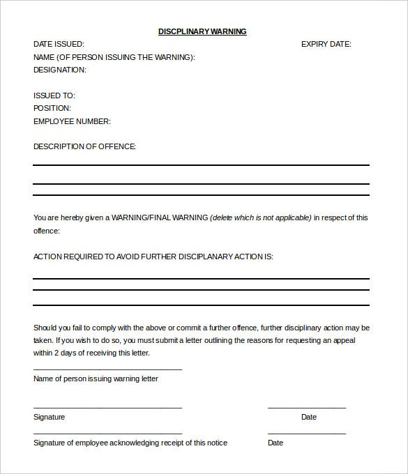 33 Hr Warning Letters Free Sample Example Format