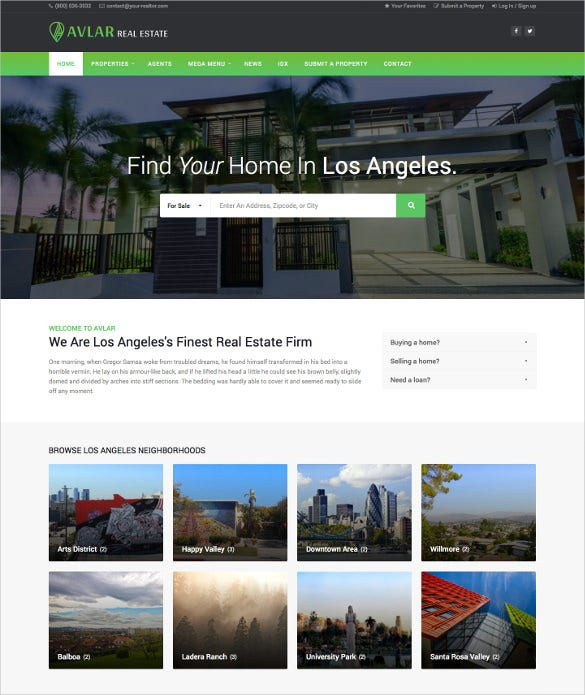 avlar real estate wordpress theme