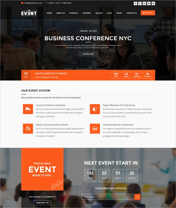 event management conference wordpress theme