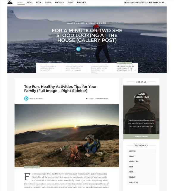 land multi topic personal wordpress theme