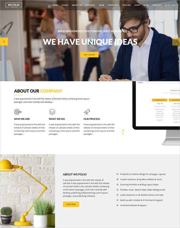 ws folio responsive portfolio wordpress theme