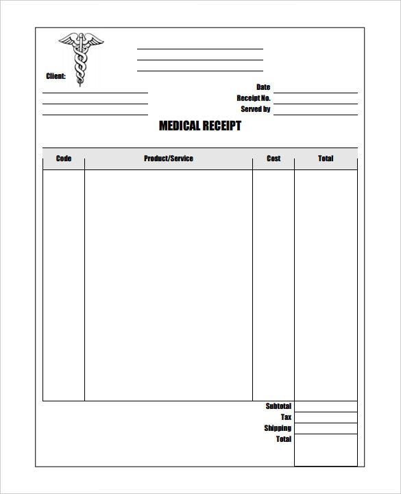 printable blank medical receipt template pdf format