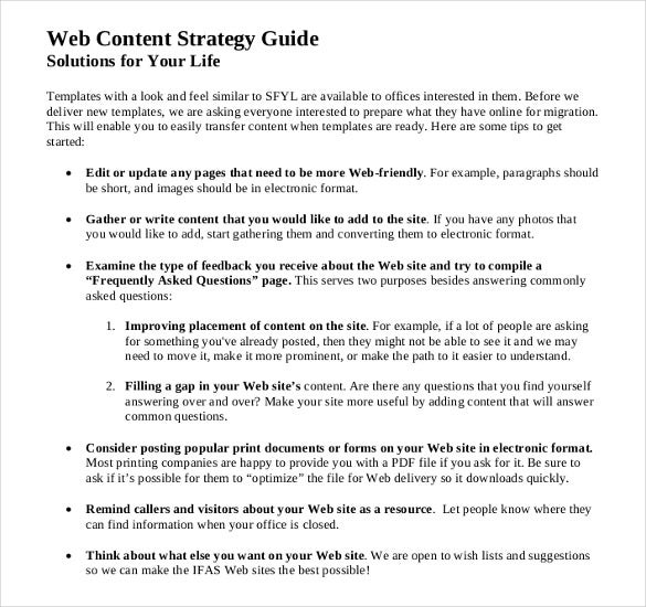 Content Strategy Templates  Free Sample Example Format