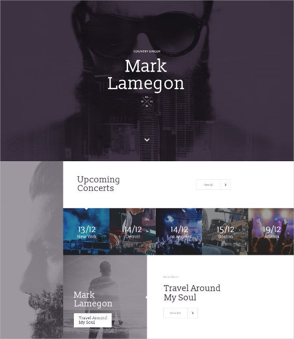 singer responsive html landing page template