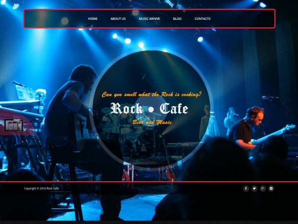 rock cafe responsive music joomla theme
