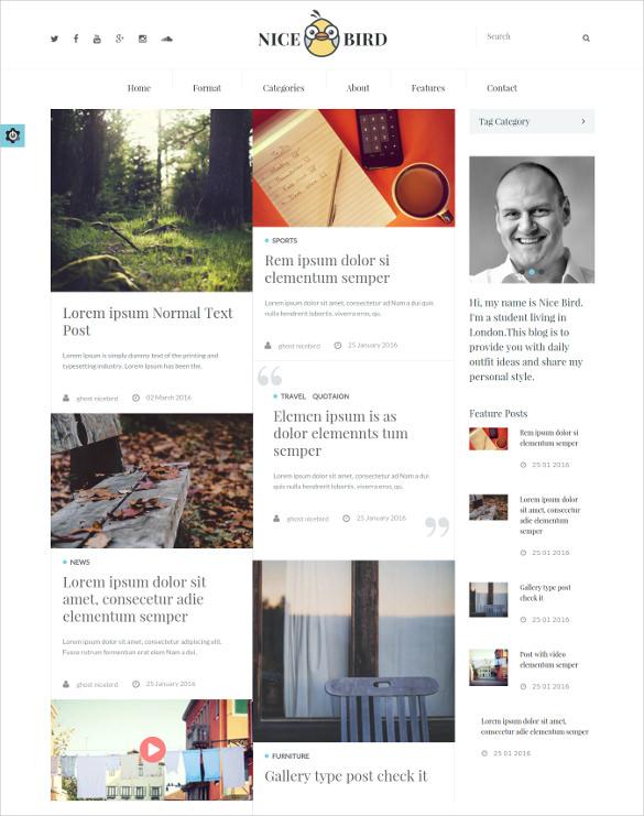 responsive ghost multipurpose website theme for photographer blog