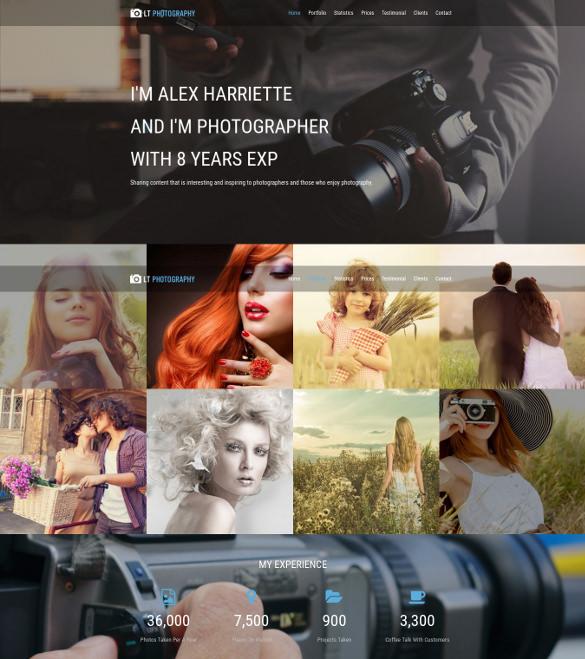 beautiful photography one page wordpress template