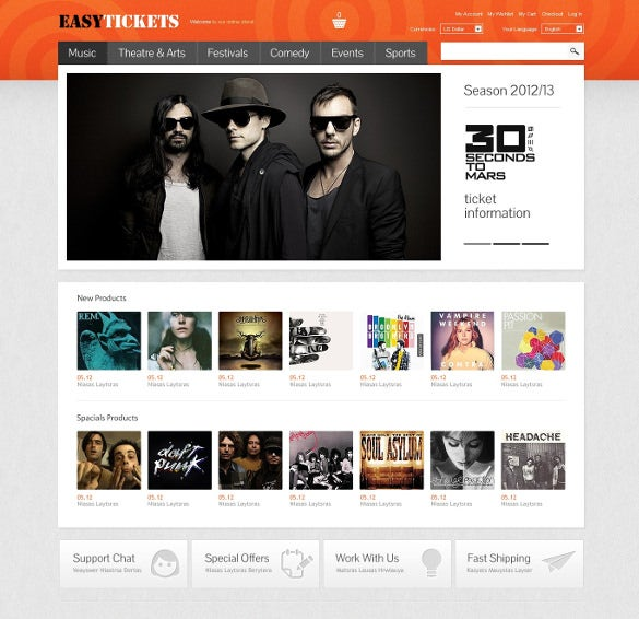 easy tickets magento website theme