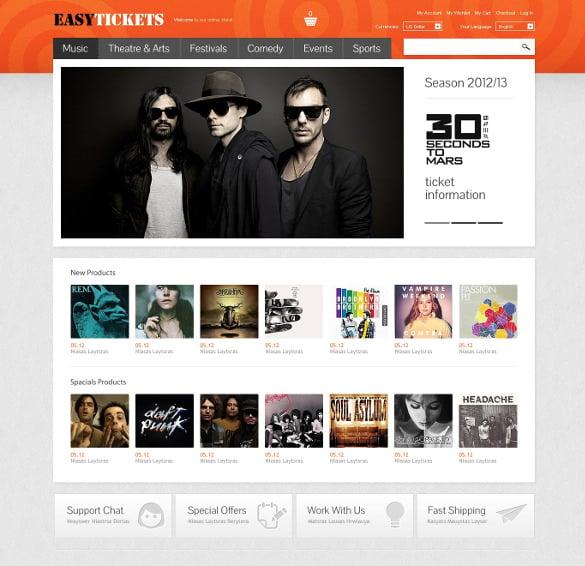 easy tickets magento website theme