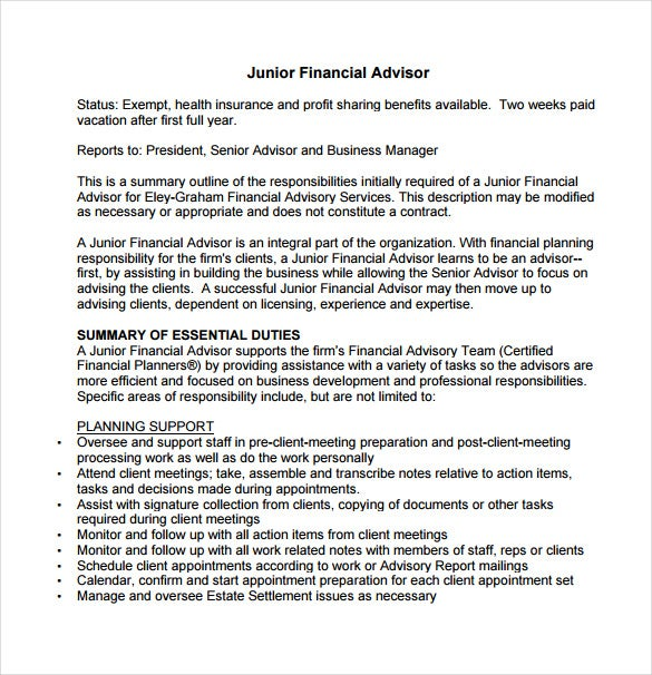 7+ Financial Advisor Job Description Templates – Free Sample