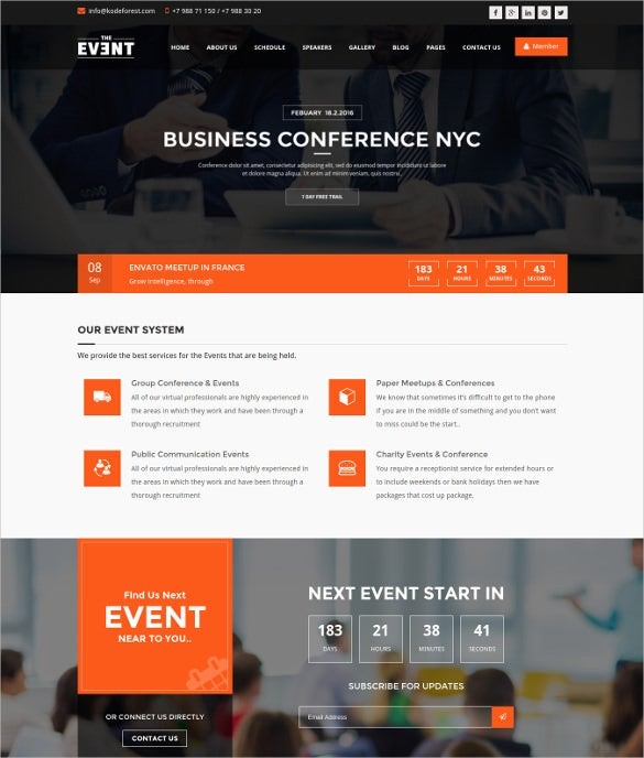 event management conference wordpress webiste theme
