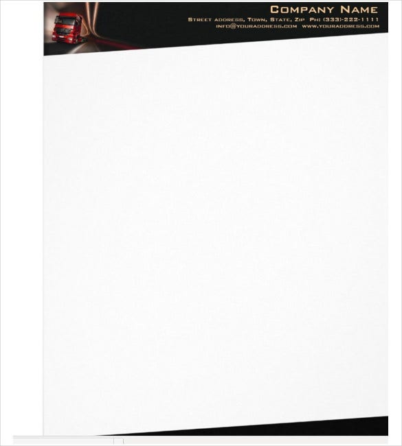 red truck in the motion company letterhead