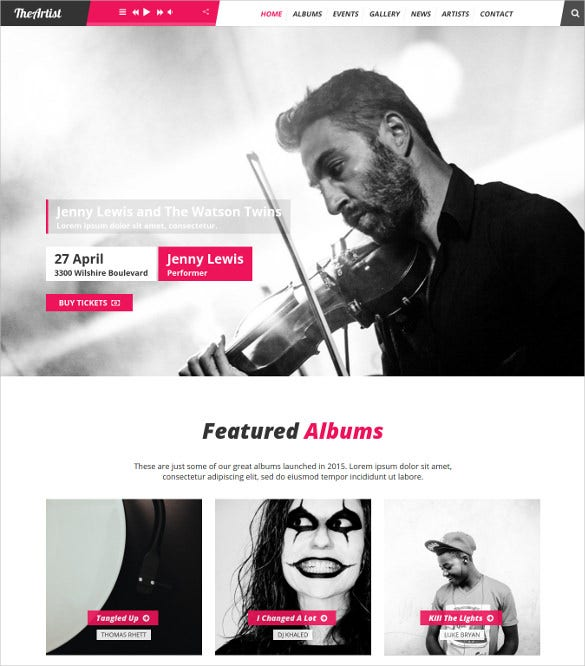 artist band music wordpress theme1