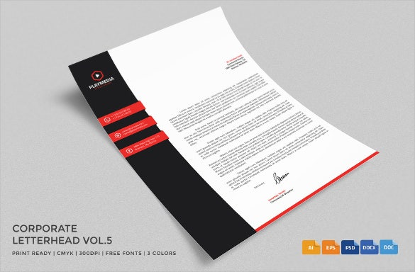 corporate letterhead with red strips