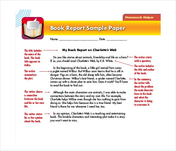 book report sample paper
