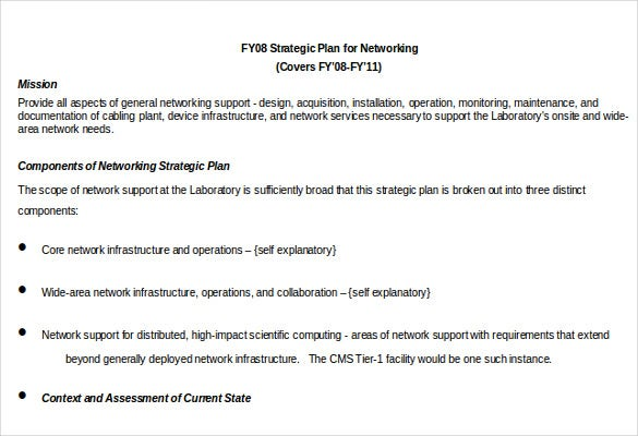 strtategic plan for networking template1