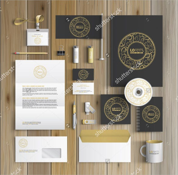 black corporate letterhead identity template design with round golden element and floral pattern download