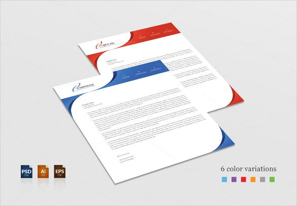 business letterhead in red and blue colours download