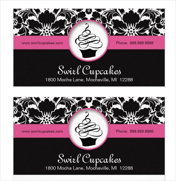 bakery cupcake business letterhead pink floral damask