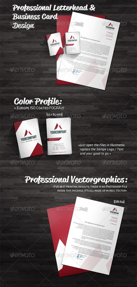 Professional letterhead template 17 free psd eps ai illustator professional letterhead and business card design download reheart Image collections