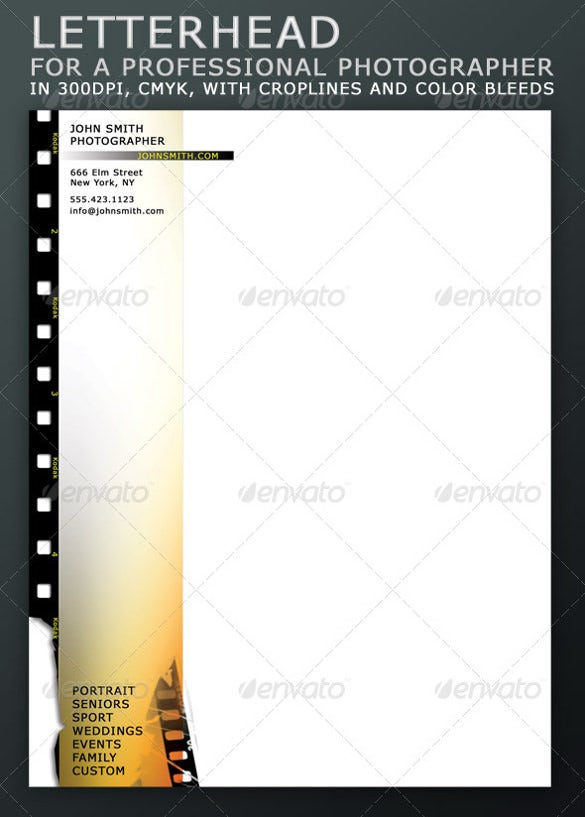 letterhead for a professional photographer template