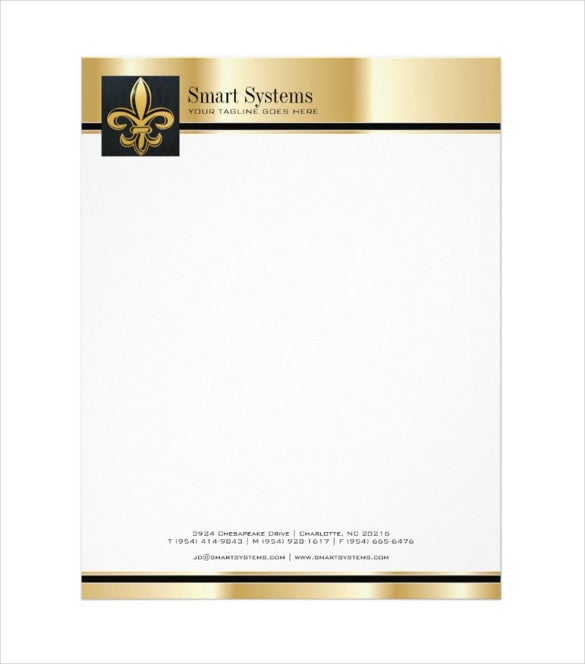 professional gold and black letterhead download