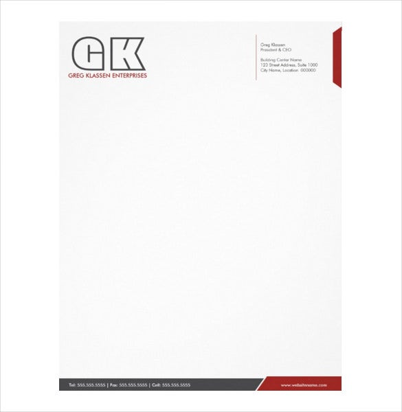 Sample Professional Letterhead Elitadearest