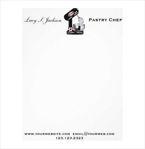 professional chef baker letterhead template format