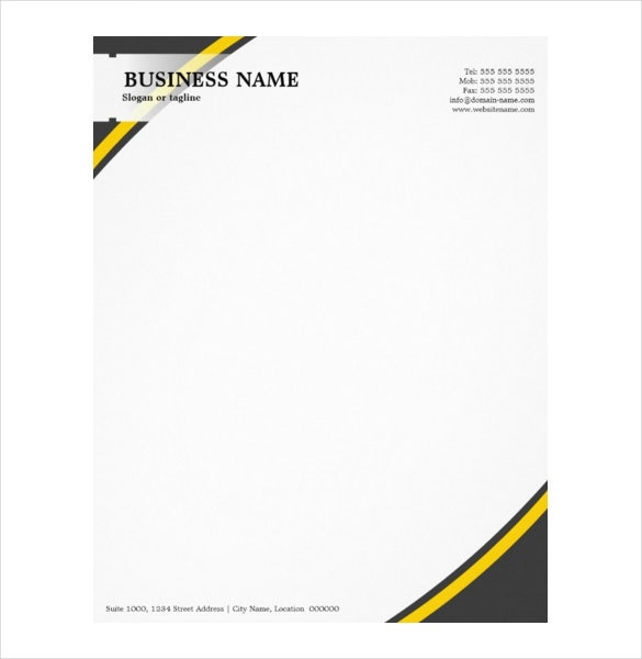 professional business grey yellow letterhead format download