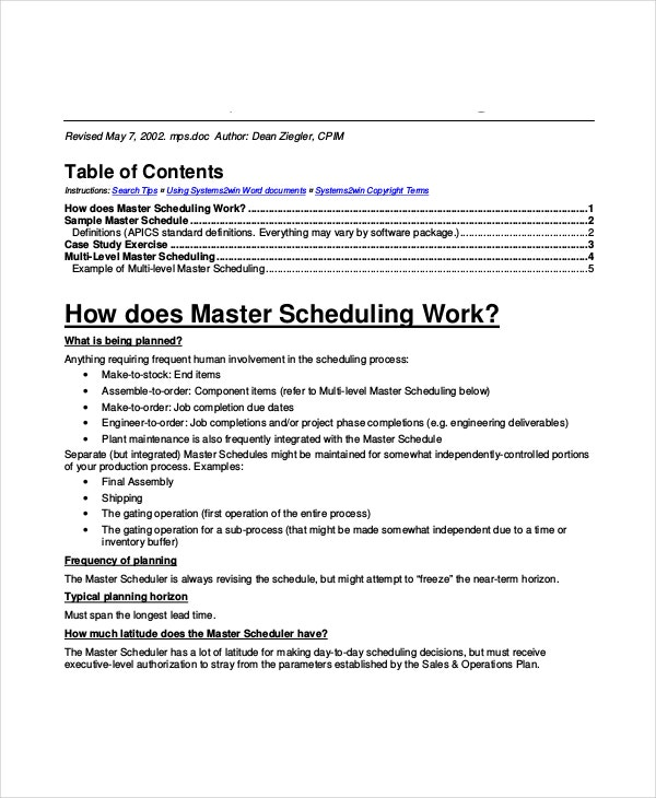 Master Schedule Template - 7+ Free Word, Pdf Documents Download