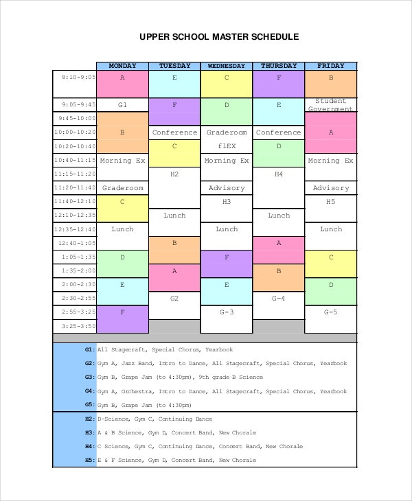 school master schedule template