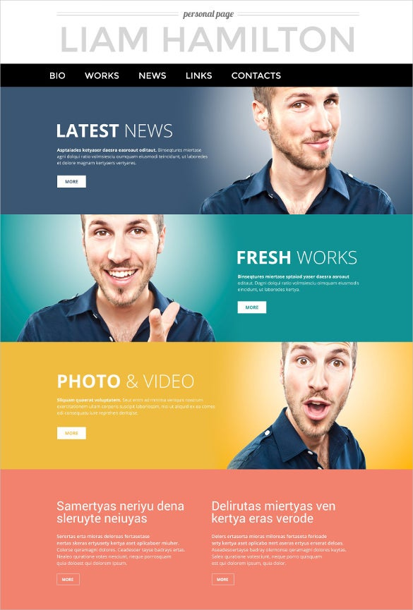 simple personal page psd template