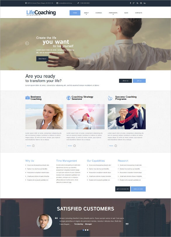 personal life coaching psd template