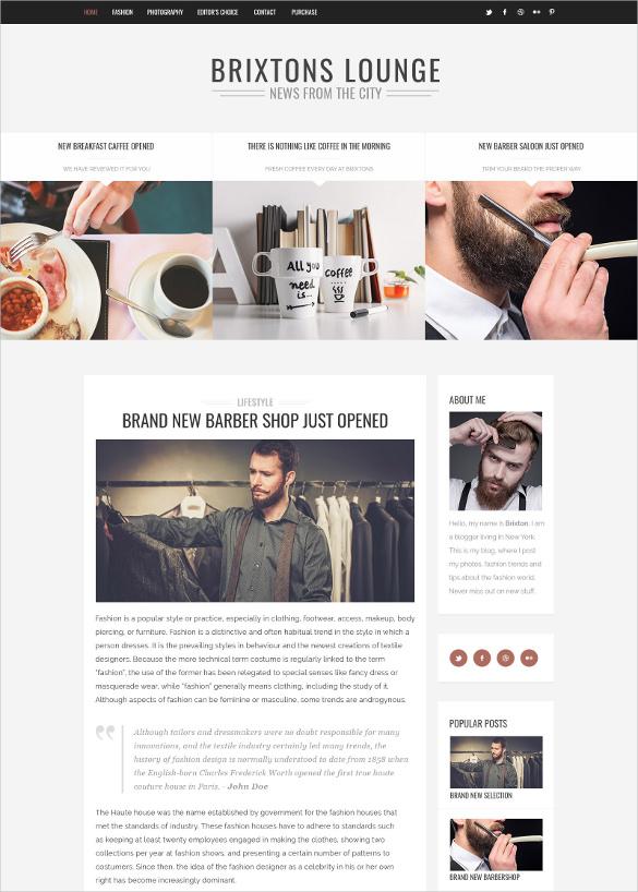 minimal personal psd blog template
