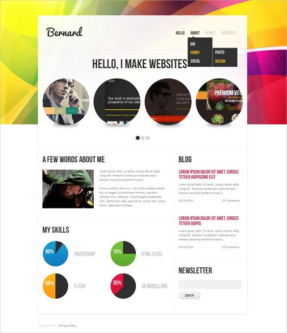 personal designer portfolio psd template