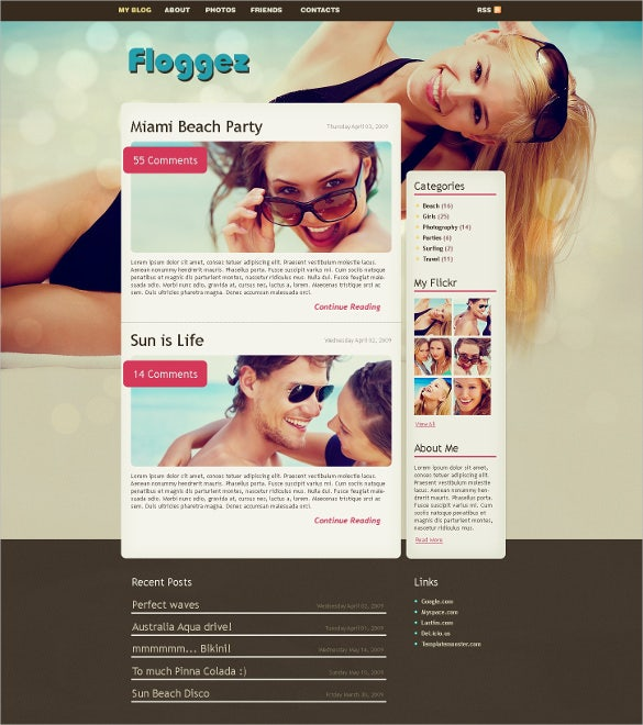 modern personal page psd template
