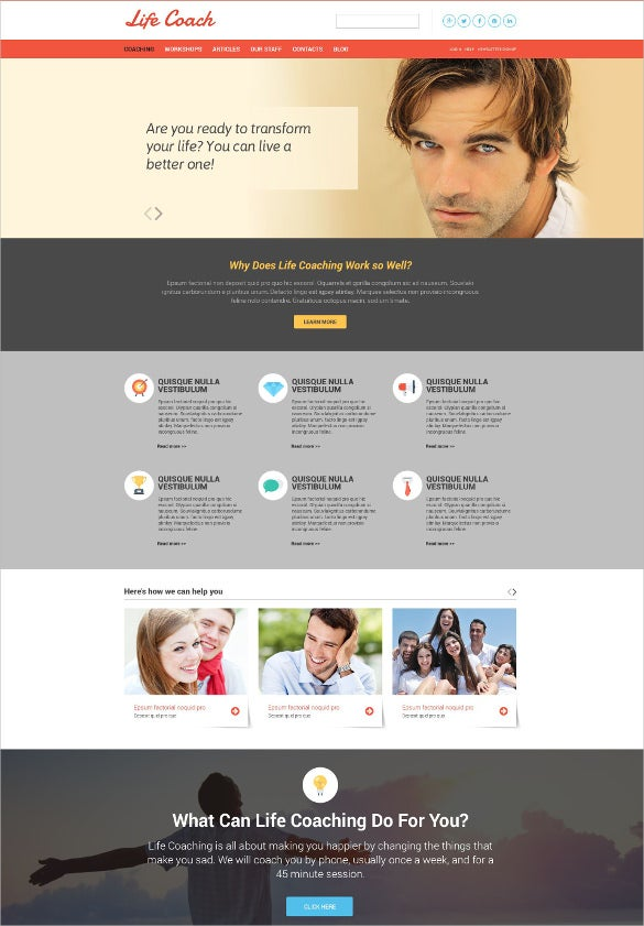 personal life coach responsive website template