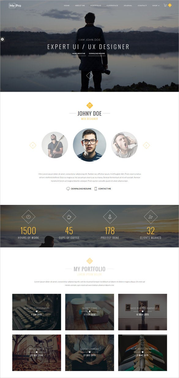 creative personal portfolio website template